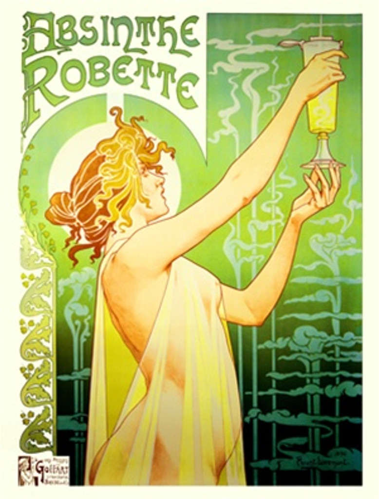 Absinthe Robette by Livemont 1896 Belgium - Beautiful Vintage Poster Reproductions. This vertical Belgian wine and spirits poster features a semi nude woman holding up a glass of liquor against a green background. Giclee Advertising Print. Classic Posters