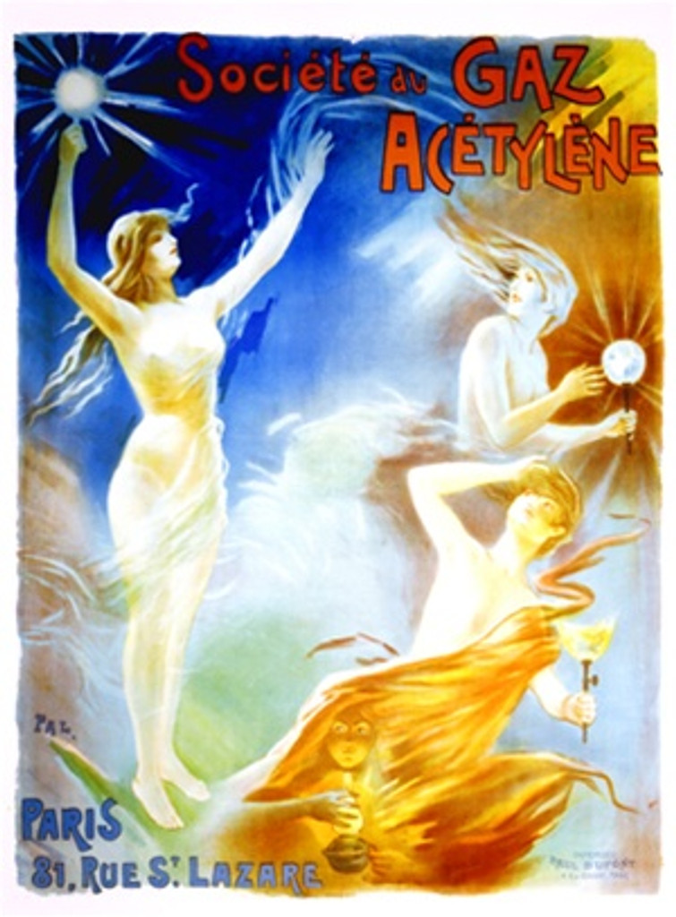 Societe du Gaz Acetylene by Pal 1898 France - Vintage Poster Reproductions. This vertical French product poster features wind blown women appearing from the clouds with gas lamps against a blue and orange sky. Giclee Advertising Print. Classic Posters