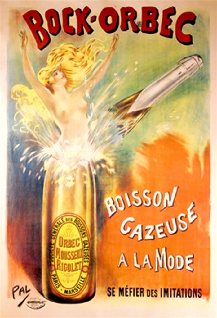 Bock-Orbec by Pal 1898 France - Beautiful Vintage Poster Reproductions. This vertical French wine and spirits poster features a champagne bottle broken at the neck as a naked blonde women pops out. Giclee Advertising Print. Classic Posters