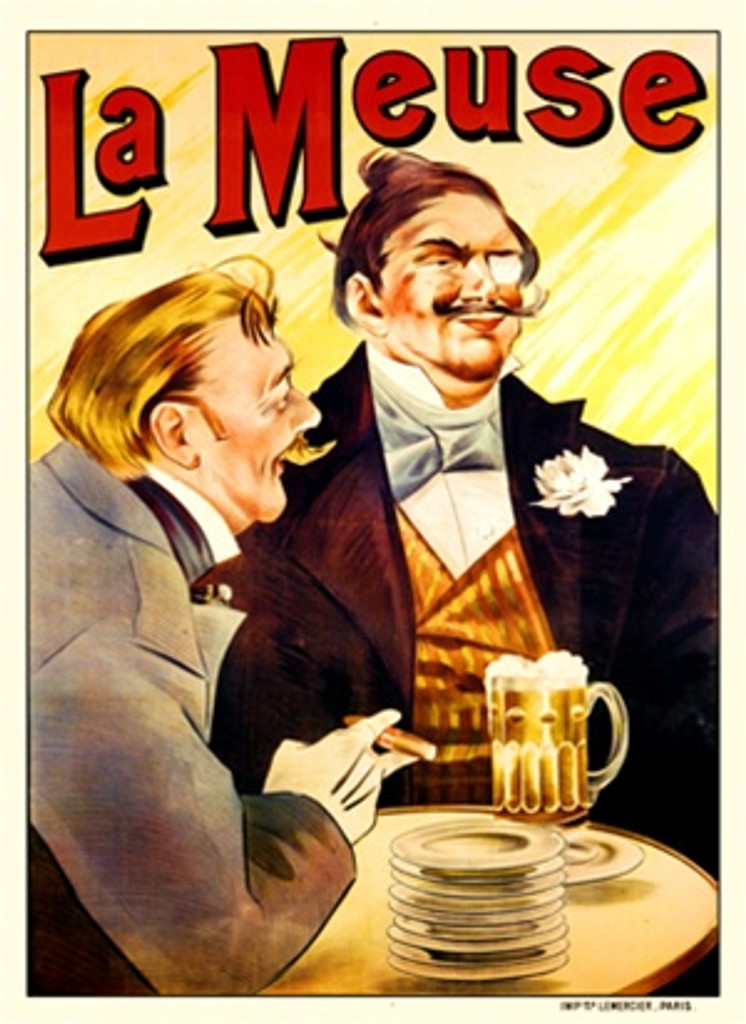 La Meuse by Mercier 1901 France - Beautiful Vintage Poster Reproductions. This vertical French wine and spirits poster features two well dress men with mustaches seated in a bar drinking beer and smoking cigars. Giclee Advertising Print. Classic Posters