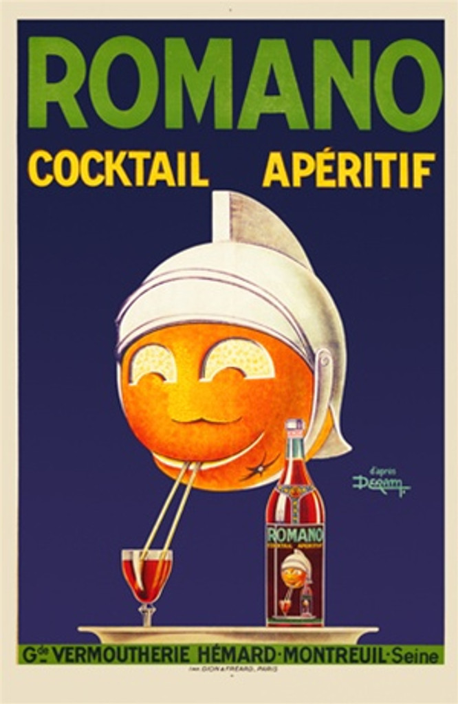 Romano by Deram 1926 France - Beautiful Vintage Poster Reproductions. This vertical French wine and spirits poster features a orange ball with a face and helmet drinking aperitif from a straw on a blue background. Giclee Advertising Print. Classic Posters