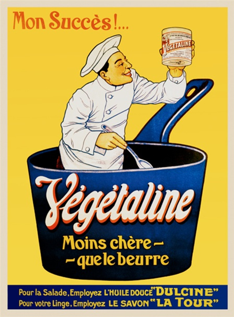 Vegetaline by Imp. Moullot 1905 France - Beautiful Vintage Poster Reproductions. This vertical French culinary / food poster features a cook in a giant blue pot holding a spoon and jar on yellow background. Giclee Advertising Print. Classic Posters