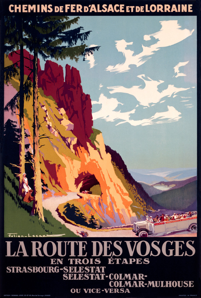La Route Des Vosges  poster by Lacaze 1921 France - Vintage Poster Reproduction. This vertical French travel poster features a tree line and mountain road with an open air bus driving towards a tunnel. Giclee Advertising Print. Fine Art  Posters