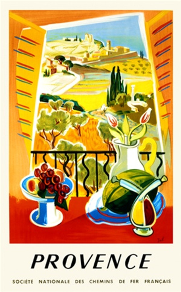 Provence by Jal 1958 France - Vintage Poster Reproductions. This vertical French travel poster features a still life of fruit, flowers, oil, and vinegar in front of a window with a hilly coastal landscape. Giclee Advertising Print. Classic Posters
