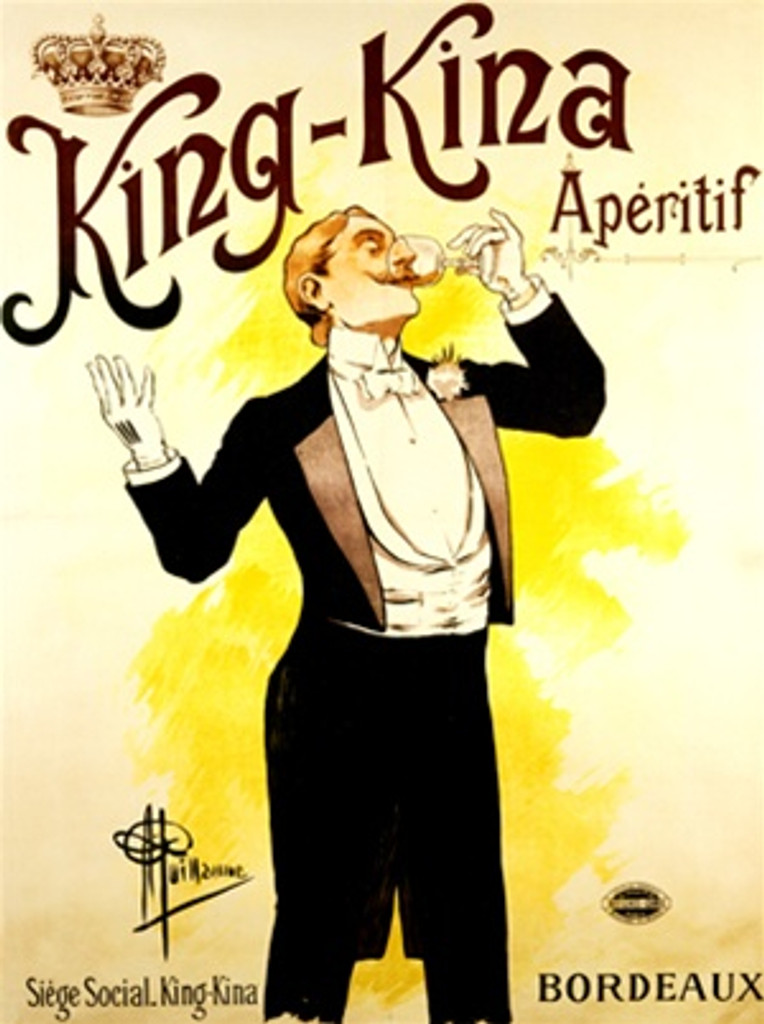 King Kina by Guillaume Aperitif 1897 France - Vintage Poster Reproductions. This wine and spirits poster features a man in a tuxedo tipping his head back drinking a glass of aperitif with his other hand raised. Giclee Advertising Print. Classic Posters