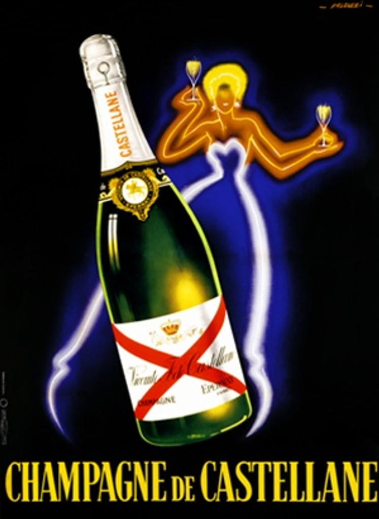 Champagne de Catellane by Fallucci 1930 France- Beautiful Vintage Poster Reproductions. This vertical French wine and spirits poster features a bottle with a neon outline of a woman behind it holding two glasses. Giclee Advertising Print. Classic Posters