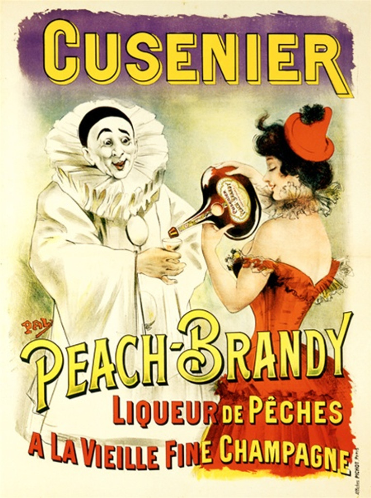 Cusenier Peach Brandy by Pal 1900 France - Beautiful Vintage Poster Reproductions. This vertical French wine and spirits poster features a white clown holding out his glass for a woman in red to pour him a drink. Giclee Advertising Print. Classic Posters