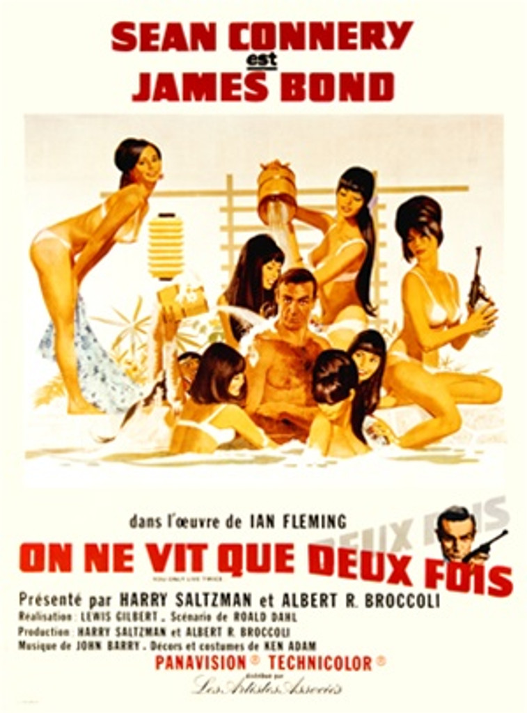 James Bond, On Ne Vit Que Deux Fols 1960 France - Beautiful Vintage Poster Reproductions. This vertical French theater poster features Agent 007 in a pool with 7 women in bikinis, one of whom is holding a gun. Giclee Advertising Print. Classic Posters