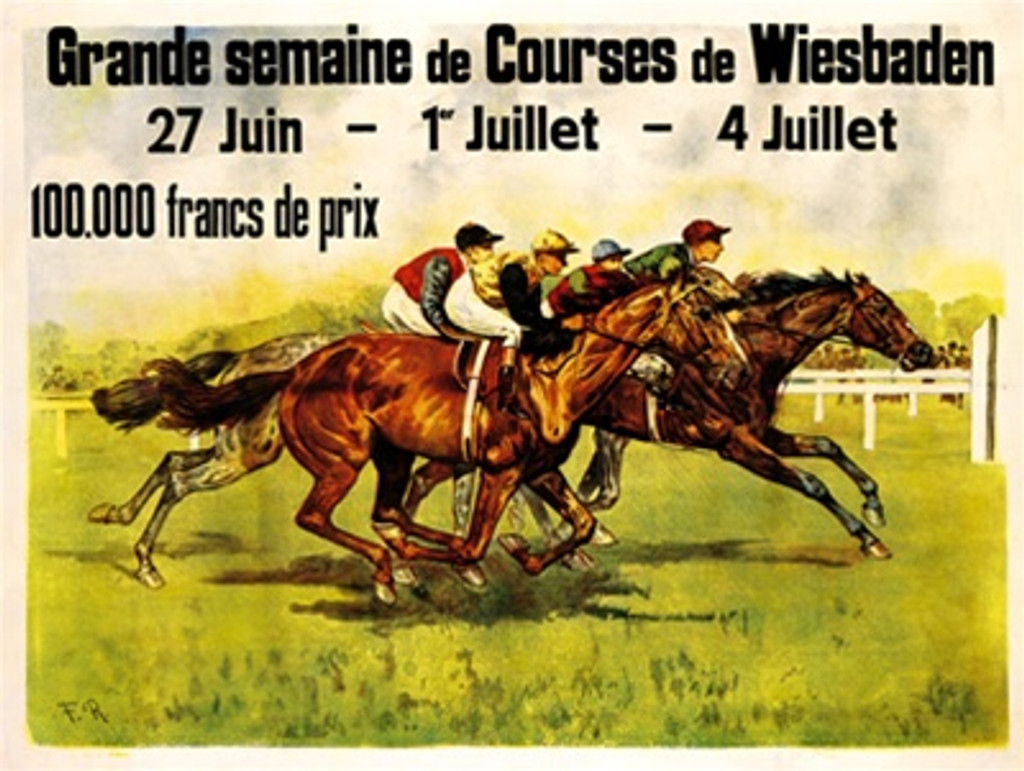 Grand Semaine de Courses de Wiesbaden 1899 France - Beautiful Vintage Poster Reproductions. This horizontal French exhibition poster features a horse race with 4 jockeys racing neck and neck across the grass. Giclee Advertising Print. Classic Posters