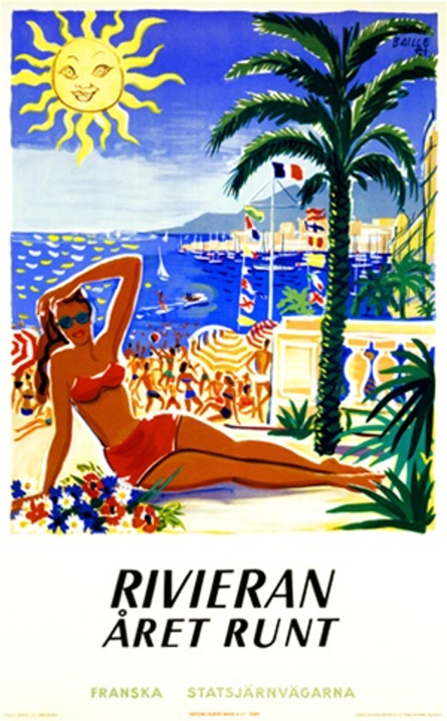 Rivieran Aret Runt by Dubois 1958 France - Vintage Poster Reproductions. This vertical French travel poster features a woman in a red bikini on a crowded beach next to a palm tree with a sun smiling down. Giclee Advertising Print. Classic Posters
