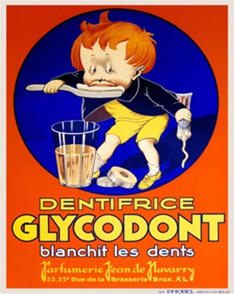 Dentifrice Glycodont by Onwy 1929 France - Vintage Poster Reproductions. This vertical French product poster features a boy in a blue circle brushing his teeth over a large glass while holding a tube of paste. Giclee Advertising Print. Classic Posters
