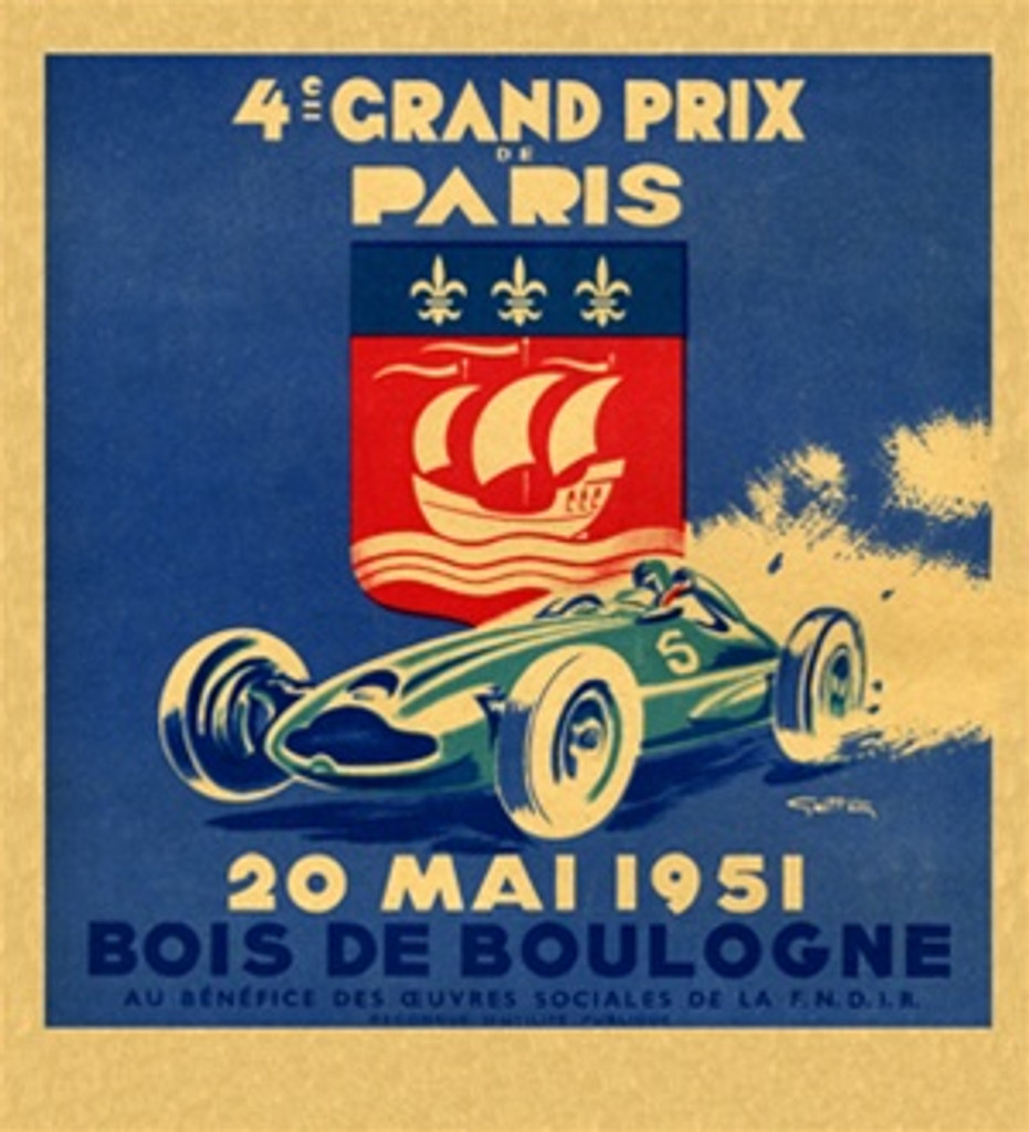 4ie Grand Prix de Paris by G. Ham 1951 France - Vintage Poster Reproductions. This vertical French transportation poster features race car number 5 with a seal behind it of a ship against a blue background. Giclee Advertising Print. Classic Posters