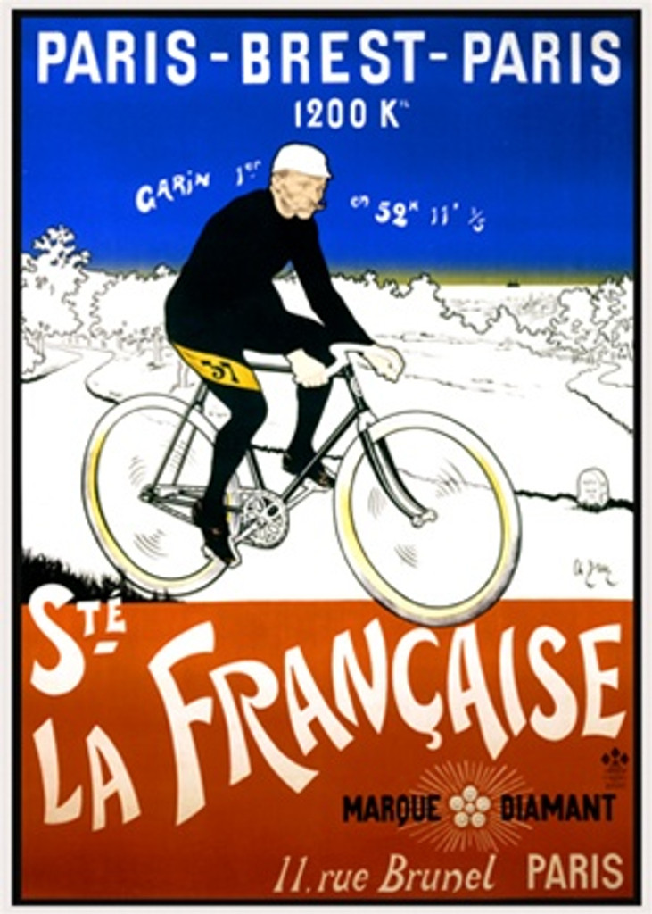 Ste La Francaise by Charles Brun 1901 France - Beautiful Vintage Poster Reproductions. This vertical transportation poster features a cyclist in black riding across a landscape colored to resemble the French flag. Giclee Advertising Print. Classic Posters