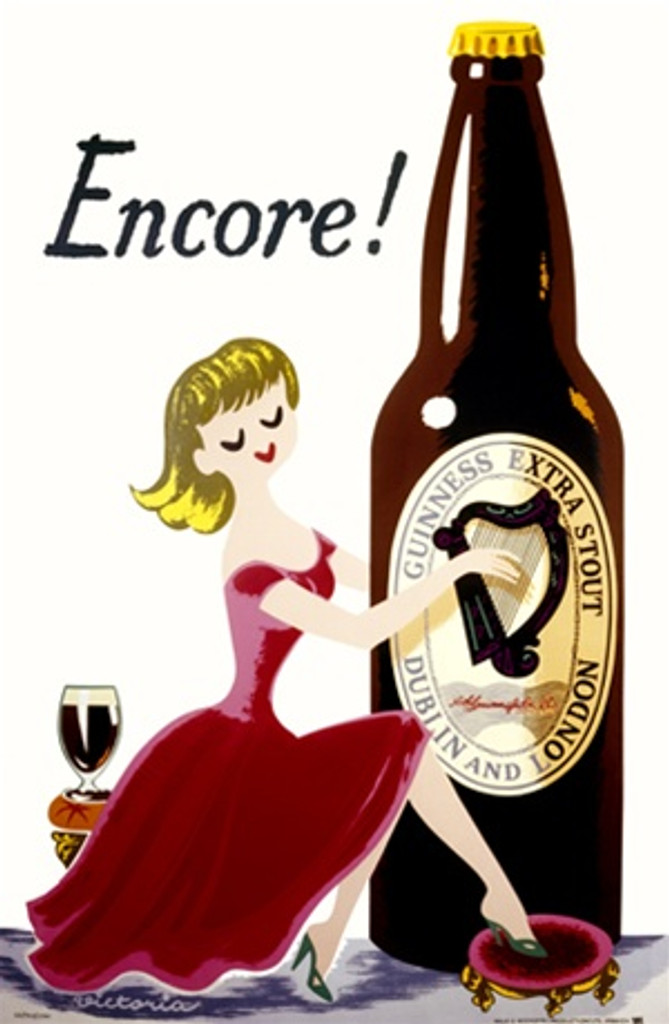 Encore Guinness beer poster -Vintage Posters Reproductions. This vertical English wine and spirits poster features a woman in a red dress playing a harp on a giant guinness beer bottle with a glass behind her. Giclee Advertising Print. Classic Posters