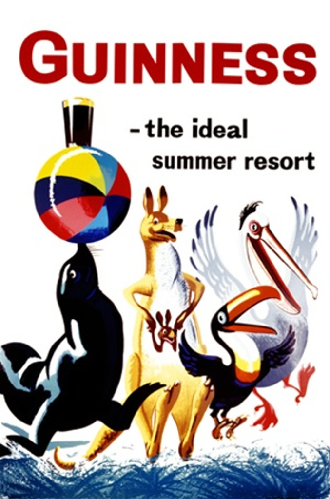 Guinness the ideal summer resort by Gilroy 1961 England-Vintage Poster Reproductions. This English wine and spirits poster features a group of animals jumping while the seal balances a ball and pint glass of beer. Giclee Advertising Print. Beer Posters