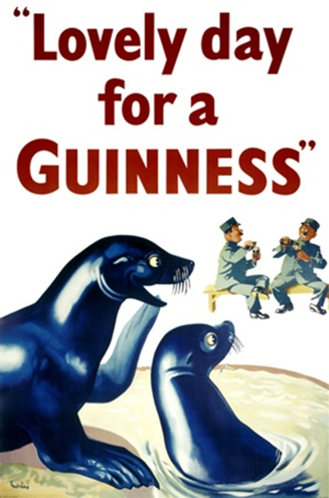 Lovely day for a Guinness by Gilroy 1954 England - Beautiful Vintage Poster Reproductions. This vertical English wine and spirits poster features two seals looking at the zoo keepers drinking beers. Giclee Advertising Print. Classic Posters