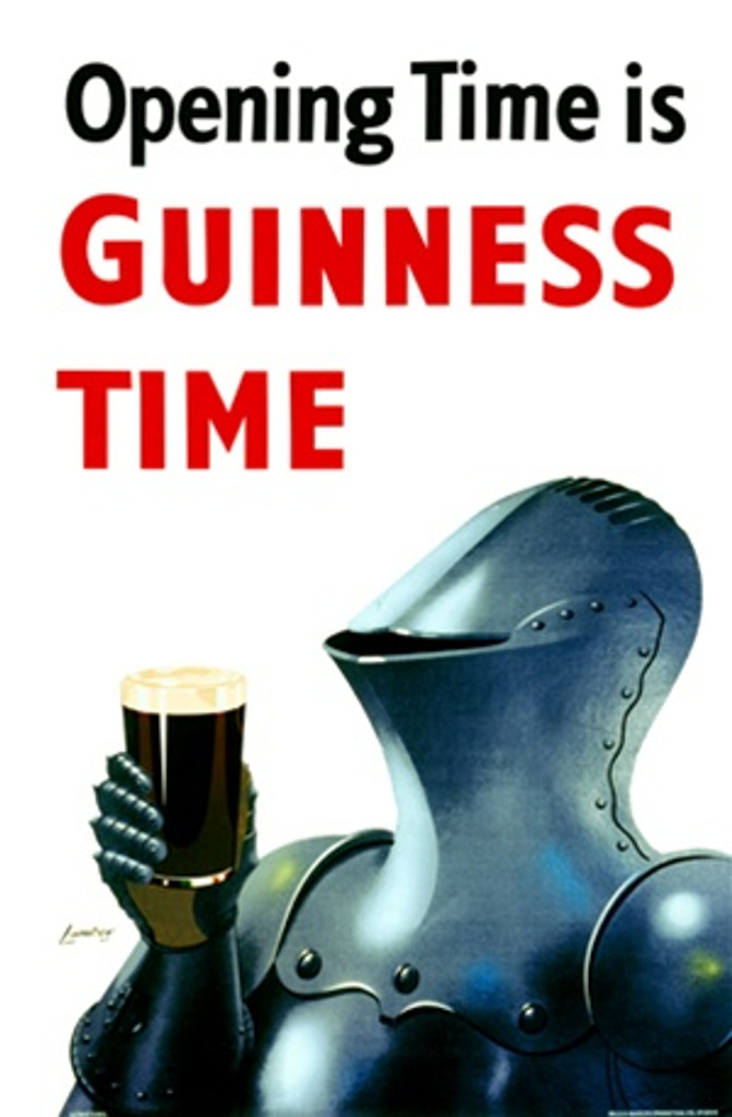 Opening Time is Guinness Time 1956 England - Beautiful Vintage Posters Reproductions. This vertical English poster features a knight in armor holding up a pint glass of guinness beer. Giclee Advertising Prints. Classic Posters