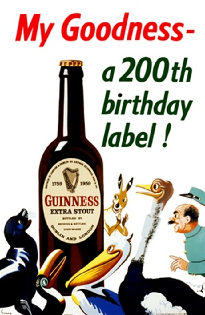 My Goodness a 200th birthday label! by Gilroy 1959 England - Vintage Poster Reproductions. This vertical English wine and spirits poster features a group of animals and a zoo keeper looking at a giant beer bottle. Giclee Advertising Print. Classic Posters