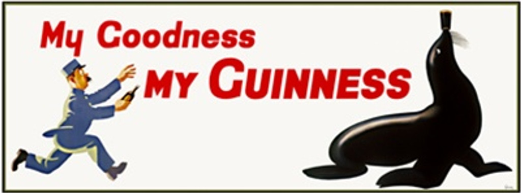 My Goodness My Guinness poster -Beautiful Vintage Poster Reproductions. This horizontal English poster features a zoo keeper with a bottle chasing a seal with a pint of guinness beer on his nose. Giclee Advertising Print. Classic Poster