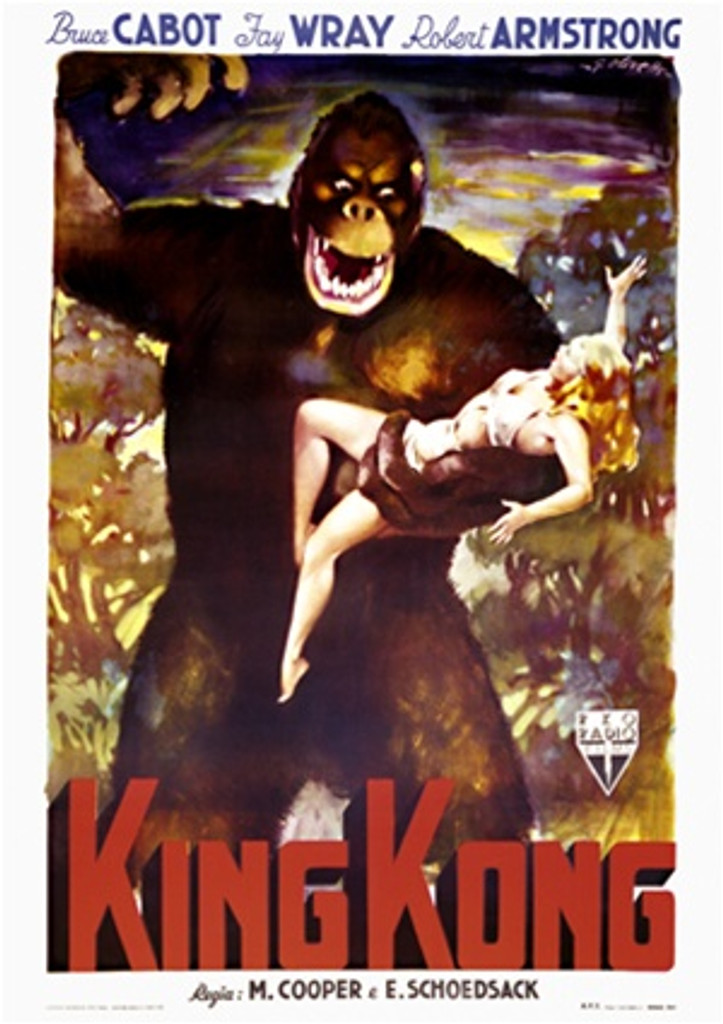 King Kong by Olivetti 1949 Italy - Beautiful Vintage Poster Reproductions. This vertical Italian theater and exhibition poster features the giant gorilla in the jungle holding a blonde woman in his hand. Giclee Advertising Print. Classic Posters
