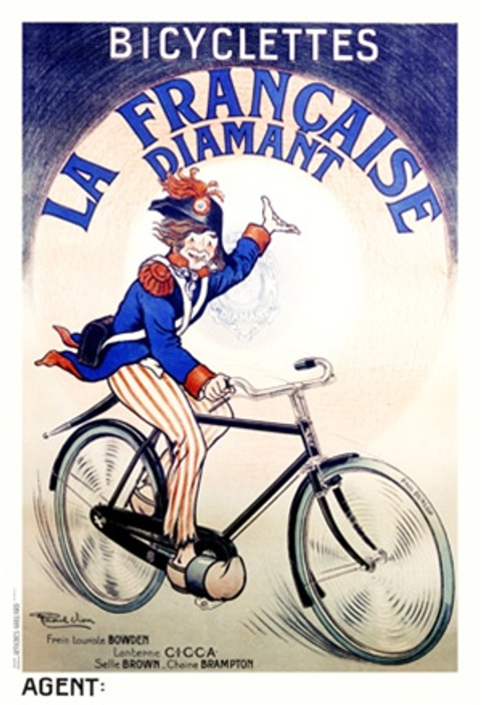 Bicyclettes La Francaise Diamant by Vion 1918 France - Vintage Poster Reproductions. This French transportation poster features a man in uniform on a bike gesturing up to the company name in a circle behind him. Giclee Advertising Print. Classic Posters