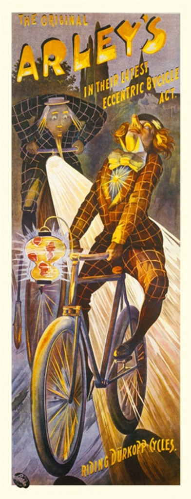 Arleys by Rhode 1904 Germany - Beautiful Vintage Poster Reproductions. This vertical German transportation poster features 2 men on bikes with lanterns and headlights riding at dusk. Giclee Advertising Print. Classic Posters