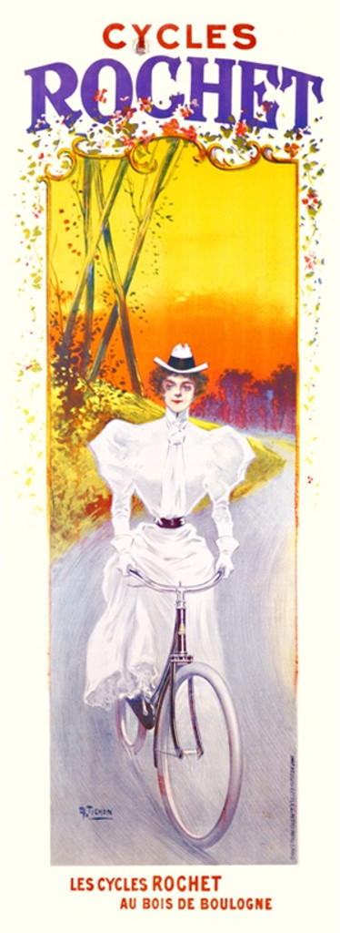 Cycles Rochet poster by Tichon 1900 France - Beautiful Vintage Poster Reproductions. French transportation poster features a woman in a white dress riding a bike down a country road at sunset. Giclee Advertising Print. Classic Posters