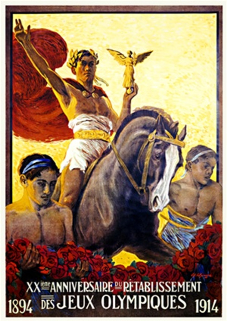 Olympiques Anniversaire by Elzinger 1914 Switzerland - Vintage Poster Reproductions. This Swiss exhibition poster features an olympian on horse back holding a gold statue with 2 men holding roses in front of him. Giclee Advertising Print. Classic Posters