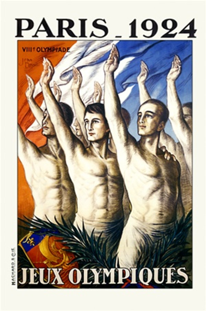 Olympiques Paris by J. Droit 1924 France - Beautiful Vintage Poster Reproductions. This vertical French exhibition poster features a group of bare chested men holding up their right hands with a flag behind them. Giclee Advertising Print. Classic Posters