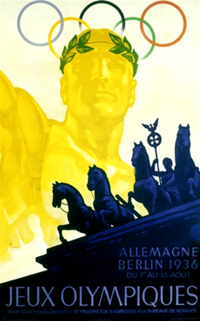 Olympiques Berlin by Wurbel 1936 Germany - Vintage Poster Reproductions. This vertical German exhibition poster features a gold statue of an Olympian with the rings behind him and blue horses in front of him. Giclee Advertising Print. Classic Posters