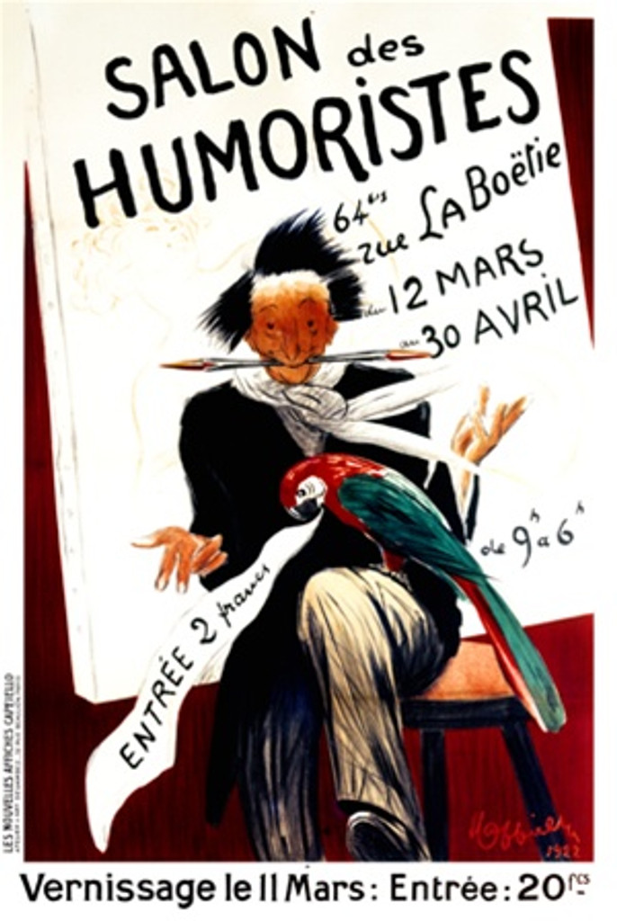 Salon des Humoristes by Cappiello 1922 France - Beautiful Vintage Poster Reproduction. This vertical French poster advertising the Salon Des Humoristes 1922 featuring a man seated in front of a painting with a parrot in his lap. Giclee advertising print