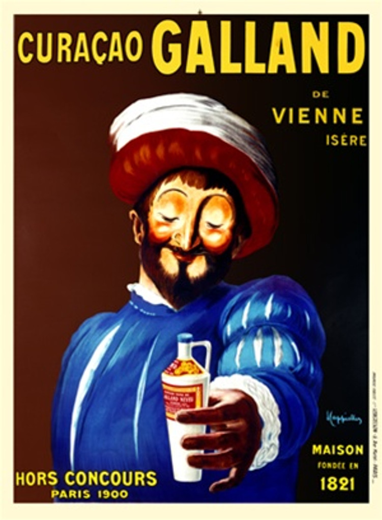 Curacao Galland by Cappiello 1911 France - Beautiful Vintage Poster Reproduction. This vertical French wine and spirits poster features a royal man (King Francois I) in a blue suit and red and white hat holding out a bottle of liquor. Giclee prints