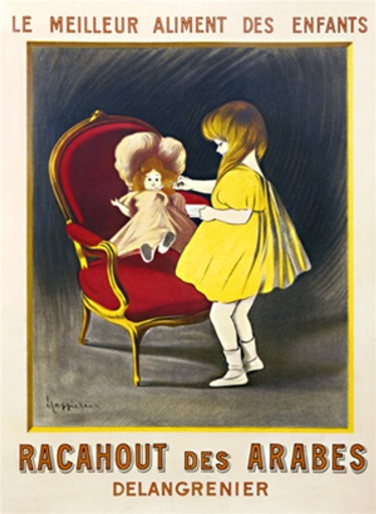Racahout des Arabes by Cappiello 1910 France - Beautiful Vintage Poster Reproduction. This vertical French poster advertising children's food stuff features a little girl in a yellow dress spoon feeding her doll in a red chair. Giclee advertising print