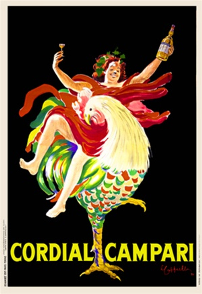 Cordial Campari by Cappiello 1921 Italy - Beautiful Vintage Posters Reproductions. Italian wine and spirits poster features a woman riding on a rooster holding up a glass in one hand and bottle in the other. Giclee advertising print. Classic
