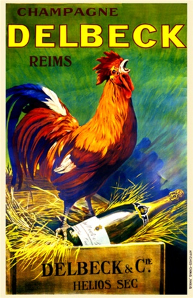 Champagne Delbeck Reims 1920 France - Vintage Poster Reproductions. This vertical French wine and spirits poster features a colorful rooster crowing as he standing on a bottle in a wood box packed in straw. Giclee Advertising Print. Classic Posters