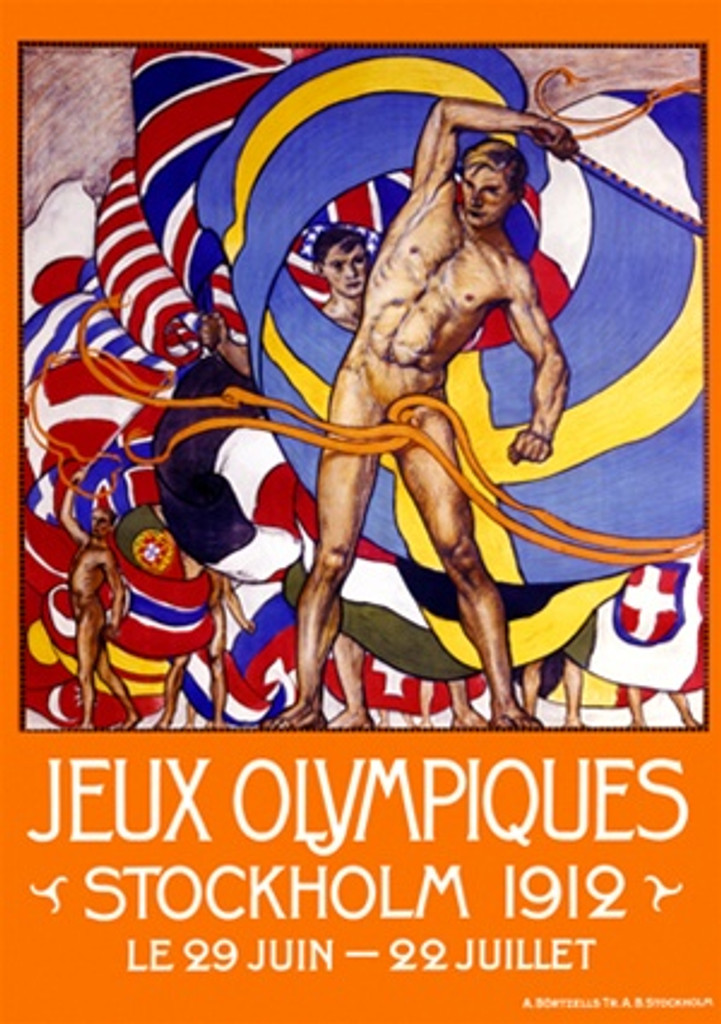 Juex Olympiques 1911 Sweden - Beautiful Vintage Poster Reproductions. This vertical Swedish exhibition poster features a group nude men waving their country's flag with an orange boarder around them. Giclee Advertising Print. Classic Posters