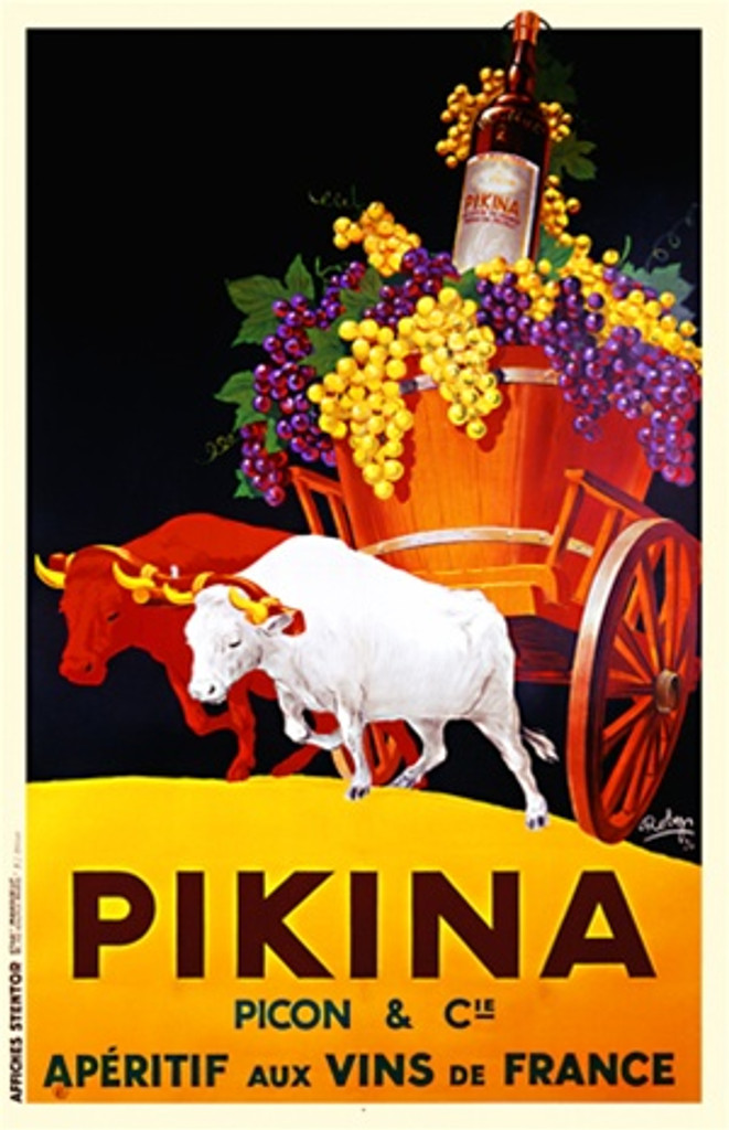 Pikina by Robys 1936 France - Beautiful Vintage Poster Reproductions. This vertical French wine and spirits poster features a cart full of grapes and a bottle of wine being pulled by two bulls. Giclee Advertising Print. Classic Posters