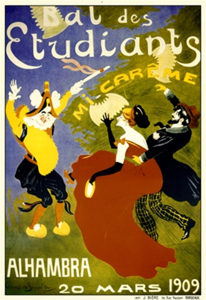 Bal des Etudiants by Sonneville 1909 France - Beautiful Vintage Poster Reproductions. This vertical French theater and exhibition poster features a couple being surprised by a performer appearing before them. Giclee Advertising Print. Classic Posters