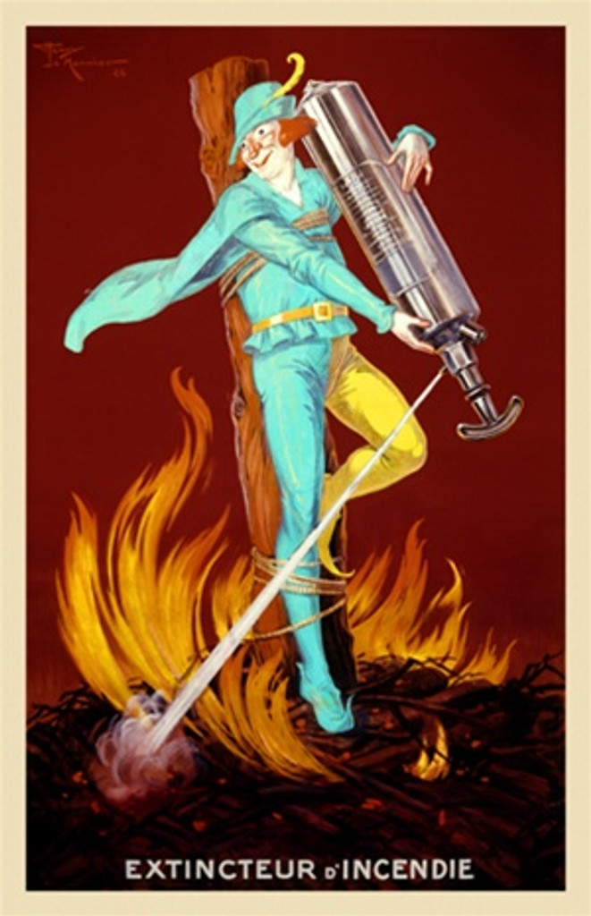 Product Extincteur D Incendie by Le Monnier 1926 France - Vintage Poster Reproductions. This vertical product poster features a jester tied to a stake on burning twigs spraying the flames with a fire extinguisher. Giclee Advertising Print. Classic Posters