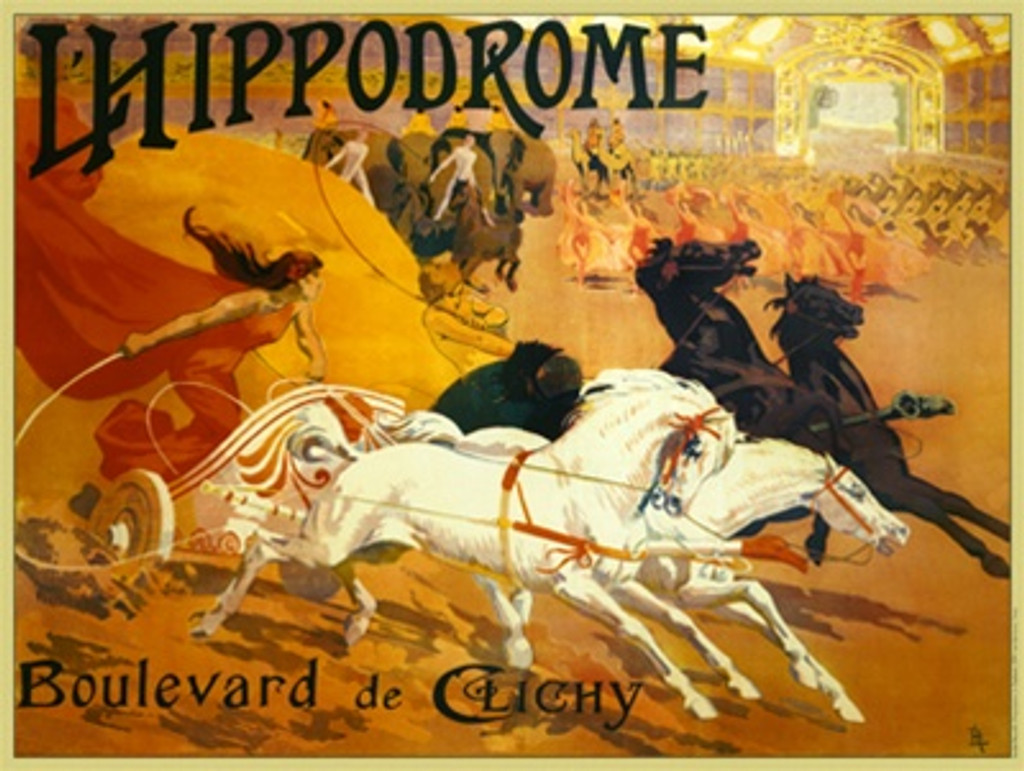 LHippodrome by DeLong 1899 France - Vintage Poster Reproductions. Horizontal French exhibition poster features a chariot race between a woman in red with white horses and a woman in yellow with black horses. Giclee Advertising Print. Classic Posters