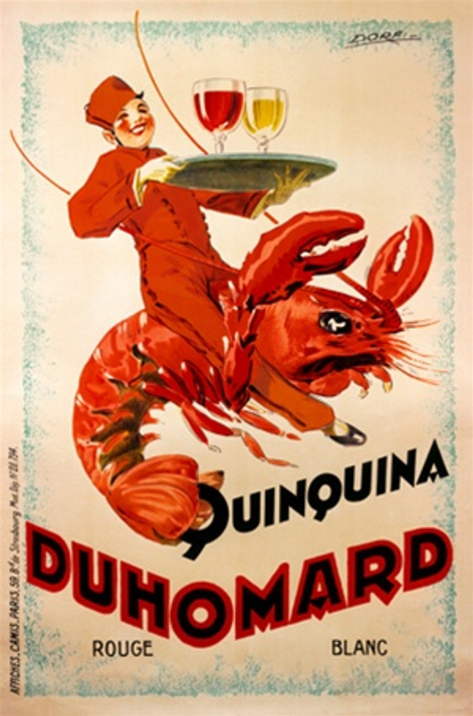 Duhomard Quinquina by Dorfi 1926 France - Vintage Poster Reproductions. This vertical French wine and spirits poster features a waiter in red riding a lobster while holding a tray of a red and white wine glasses. Giclee Advertising Print. Classic Posters