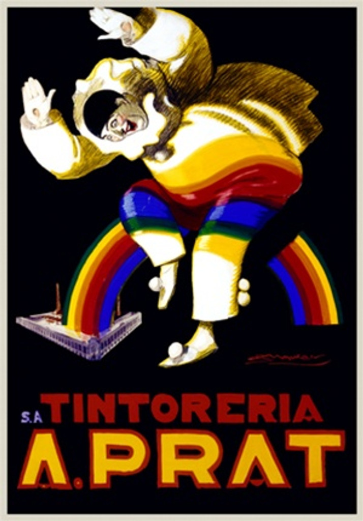 SA Tintoreria A. Prat by Mauzan 1931 France -Vintage Posters Reproductions. This vertical French product poster features a clown who walked through a rainbow and now has colored stripes across his legs and belly. Giclee Advertising Print. Classic Posters