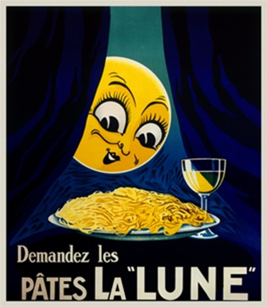 Pates La Lune by Sepo 1928 France - Vintage Poster Reproductions. This vertical French culinary / food poster features a yellow sun face peaking around a blue curtain at a plate of pasta and glass of wine. Giclee Advertising Print. Classic Posters