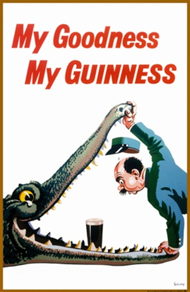 Guinness 1936 England - Beautiful Vintage Poster Reproductions. This vertical English wine and spirits poster features a zoo keeper holding open the jaws of an crocodile leaning in to find a pint of beer. Giclee Advertising Print. Classic Posters