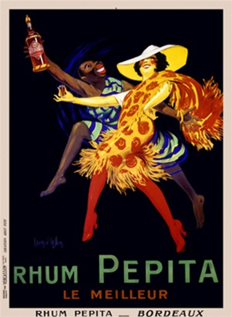 Rhum Pepita by Dylen 1920 France - Vintage Poster Reproductions. This vertical French wine and spirits poster features a couple dancing. The man is dressed in holding a bottle and the woman a shot glass. Giclee Advertising Print. Classic Posters