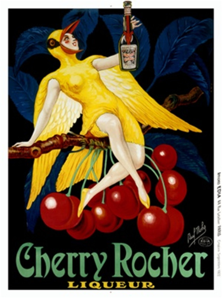 Cherry Rocher Liqueur by P. Mohr 1922 France - Vintage Poster Reproductions. French wine and spirits poster features a woman dressed as a yellow bird sitting on a cherry tree branch holding a bottle. Giclee Advertising Print. Classic Posters