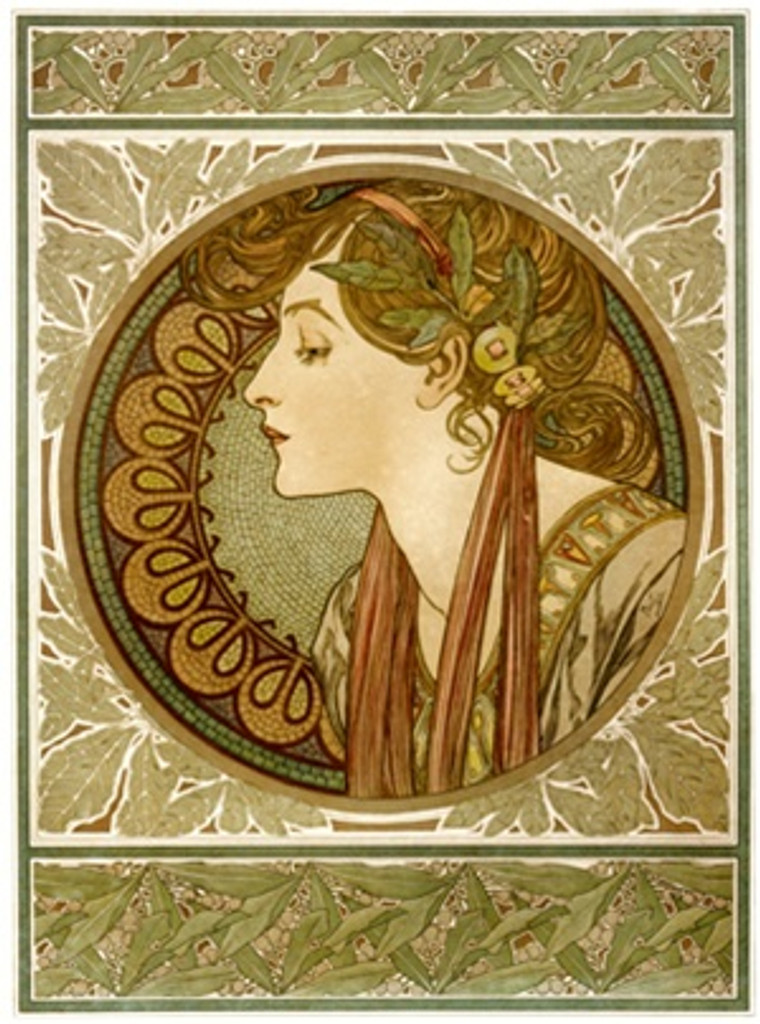 Ivy by Mucha 1901 France - Beautiful Vintage Poster Reproductions. This vertical French theater and exhibition poster features the profile of a woman with ribbons in her hair in a decorative circular frame. Giclee Advertising Print. Classic Posters