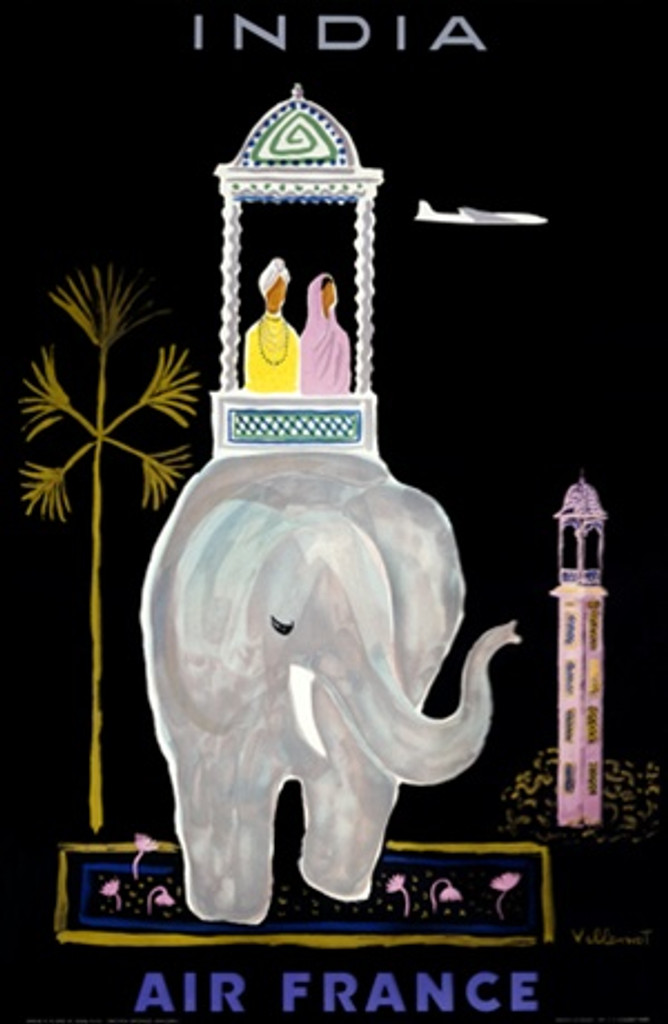 Air France India by Villemot 1956 France - Vintage Poster Reproductions. This vertical French travel poster features a carriage on an elephant with a couple in native dress between a palm tree and a tower. Giclee Advertising Print. Classic Posters