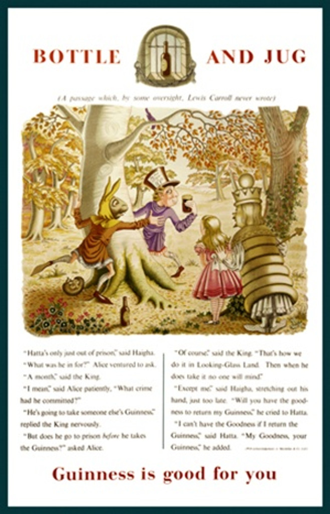 Bottle and Jug Guinness by Gilroy 1931 England - Vintage Poster Reproductions. This English wine and spirits poster features a Alice in Wonderland type scene with the Mad Hatter holding a pint glass of beer. Giclee Advertising Print. Classic Posters