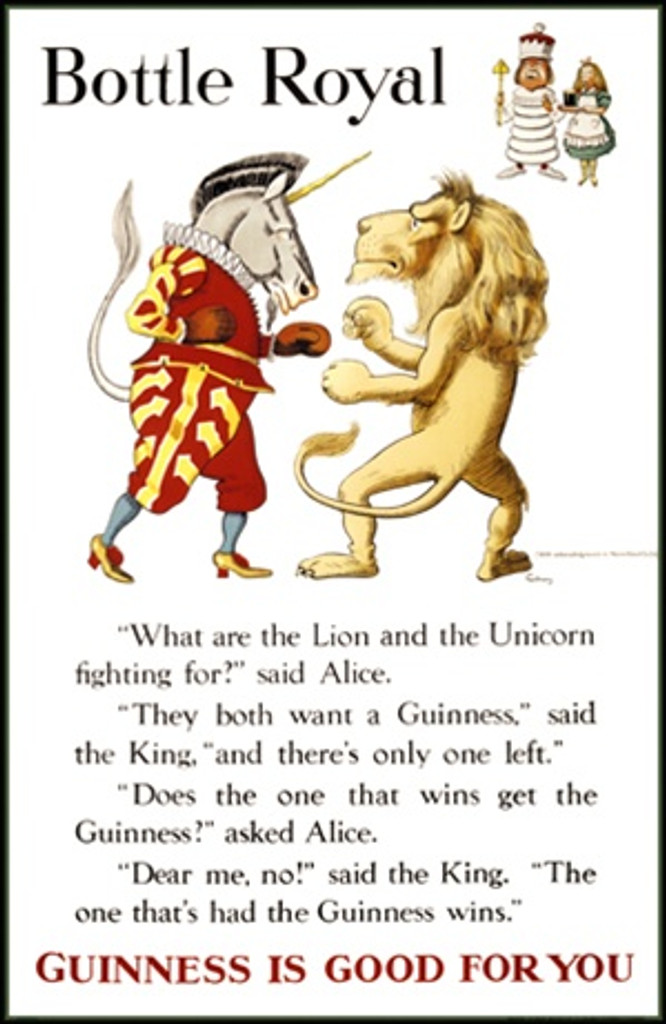 Bottle Royal by Gilroy 1931 England - Beautiful Vintage Poster Reproductions. This vertical English wine and spirits poster features a lion and unicorn fighting with Alice and the King in the corner. Giclee Advertising Print. Classic Posters